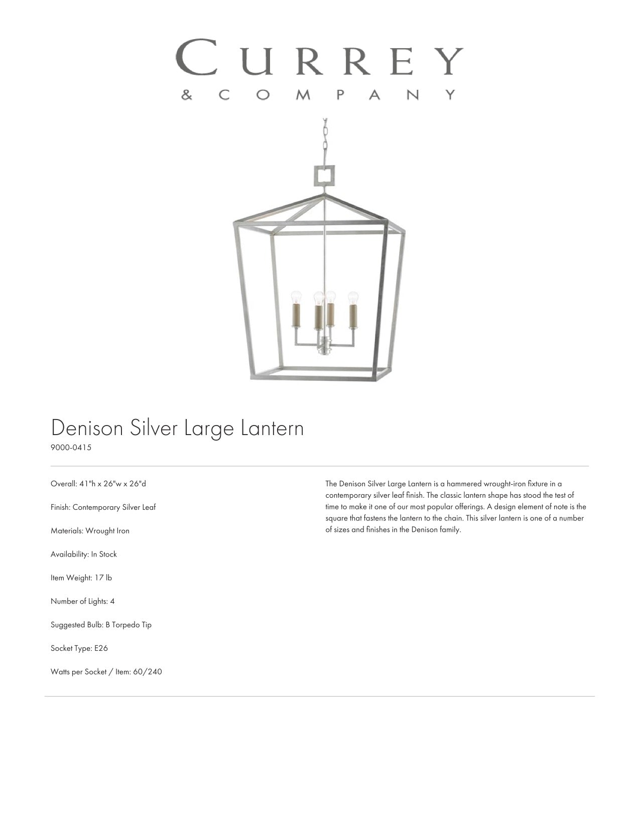 Currey & Company Denison Silver Large Lantern Tearsheet