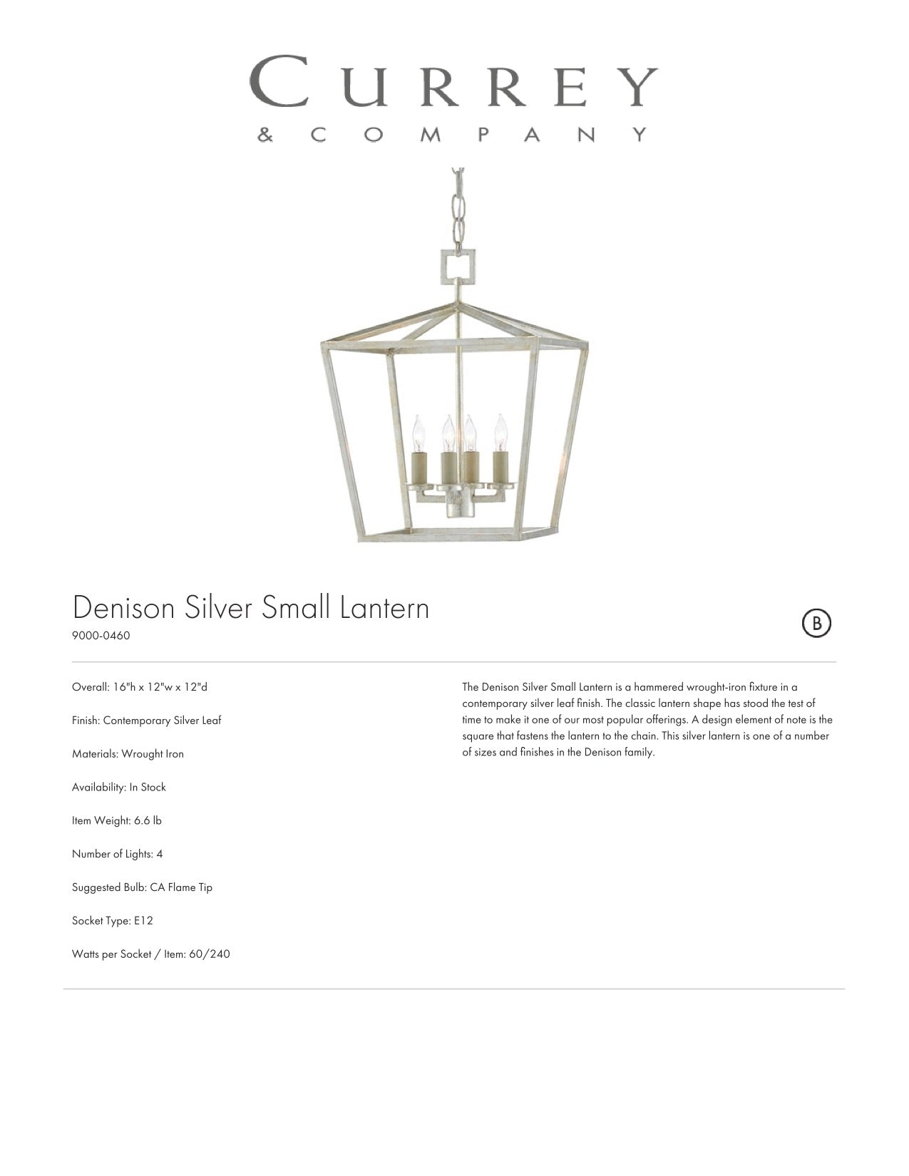 Currey & Company Denison Silver Small Lantern Tearsheet
