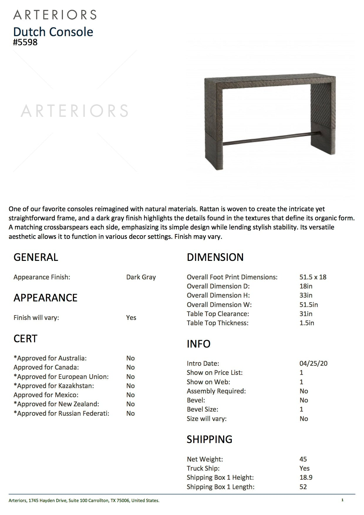 arteriors dutch console tearsheet
