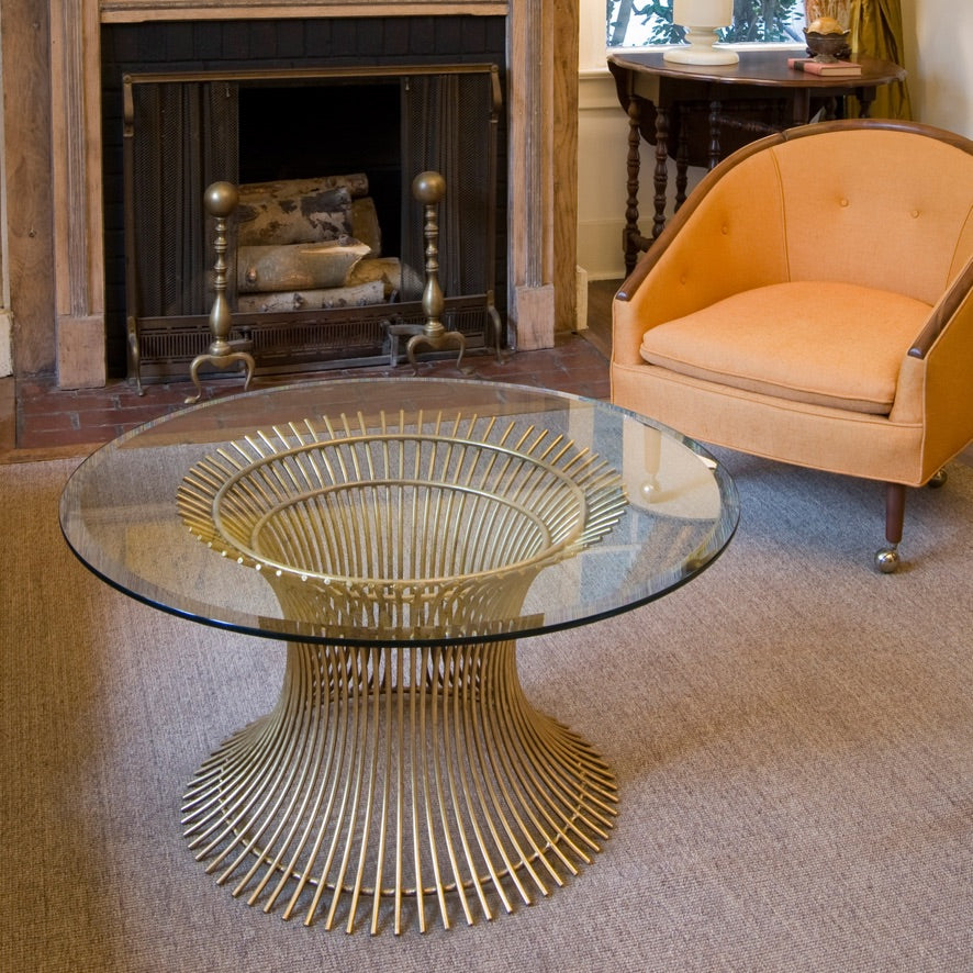 worlds away powell metal round coffee table glass top