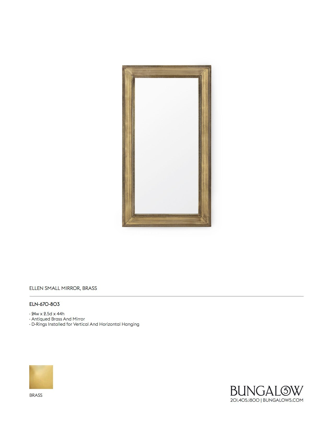 Bungalow 5 Ellen Mirror Brass Small Tearsheet