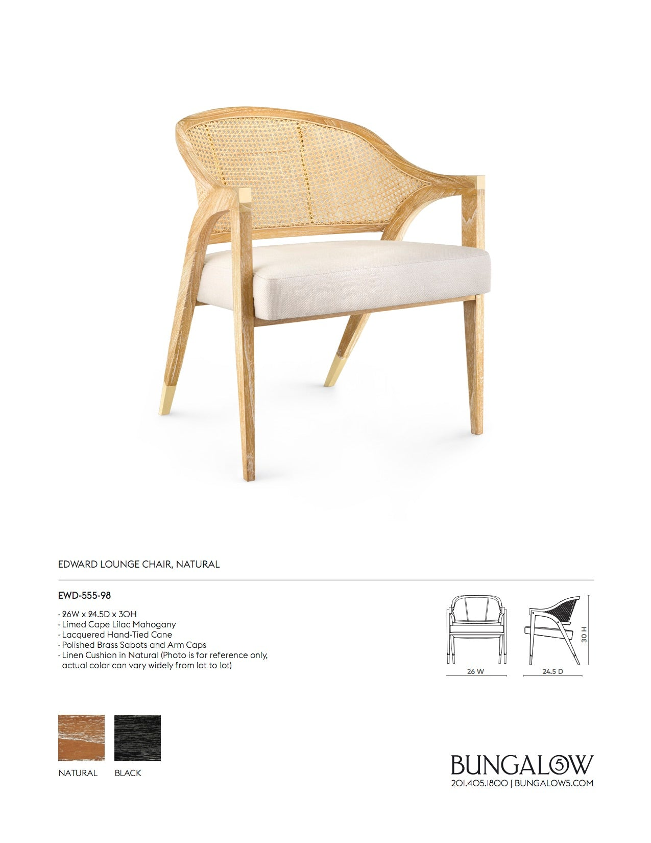 Bungalow 5 Edward Lounge Chair Natural Tearsheet
