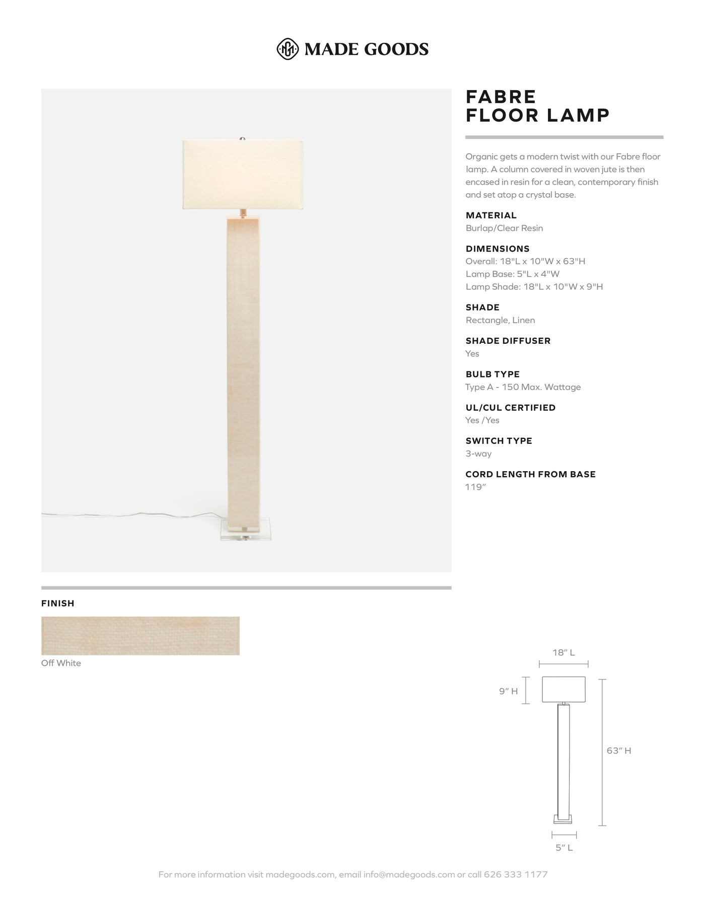 made goods fabre floor lamp off white burlap tear sheet