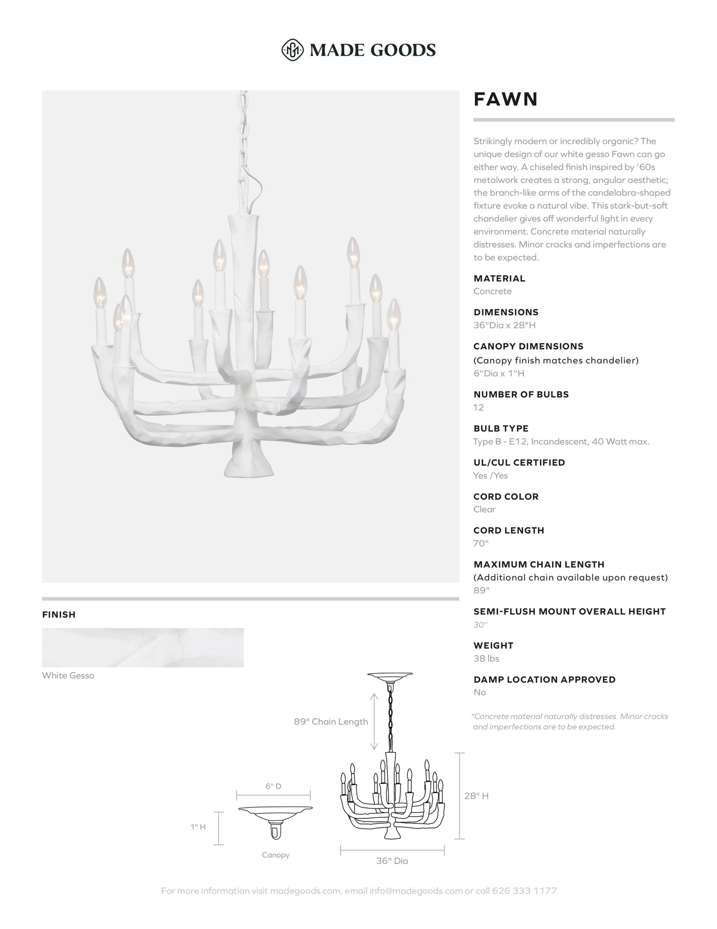 made goods fawn chandelier white concrete branches light