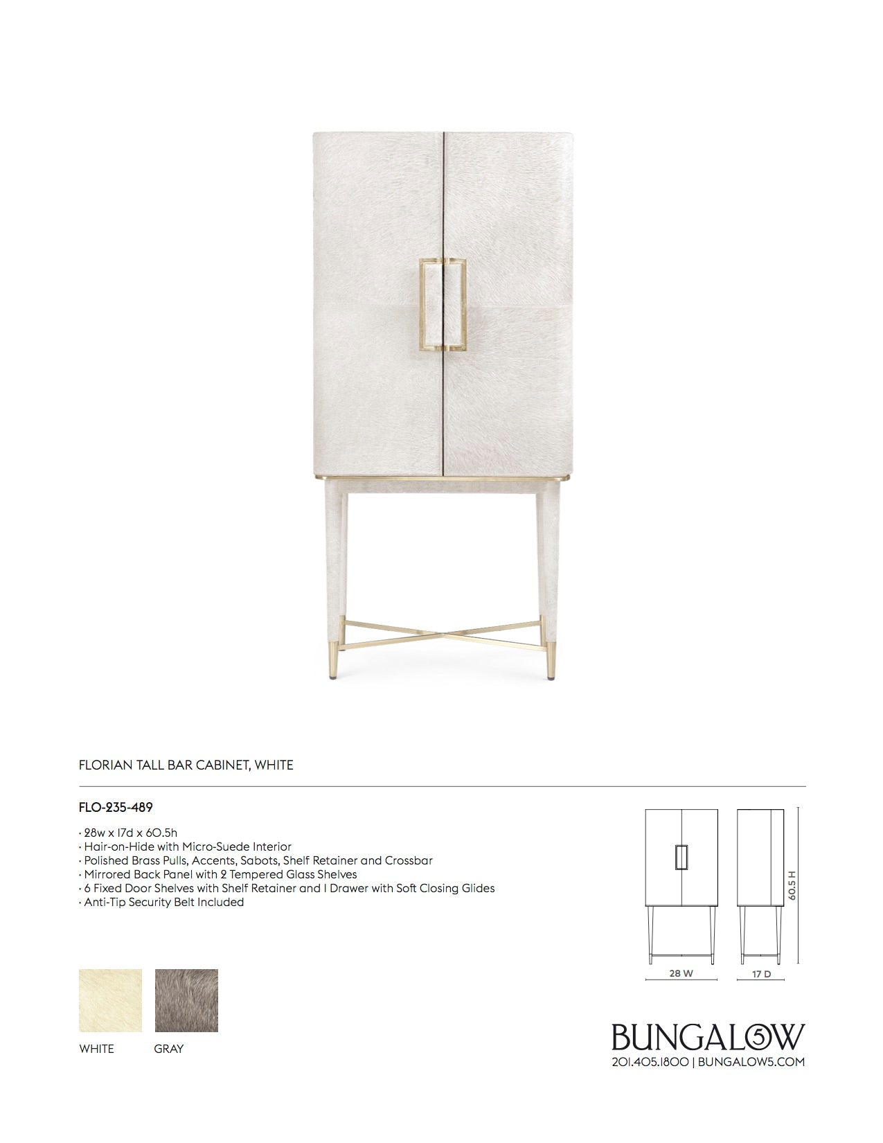 Bungalow 5 Florian Tall Bar Cabinet White Tearsheet