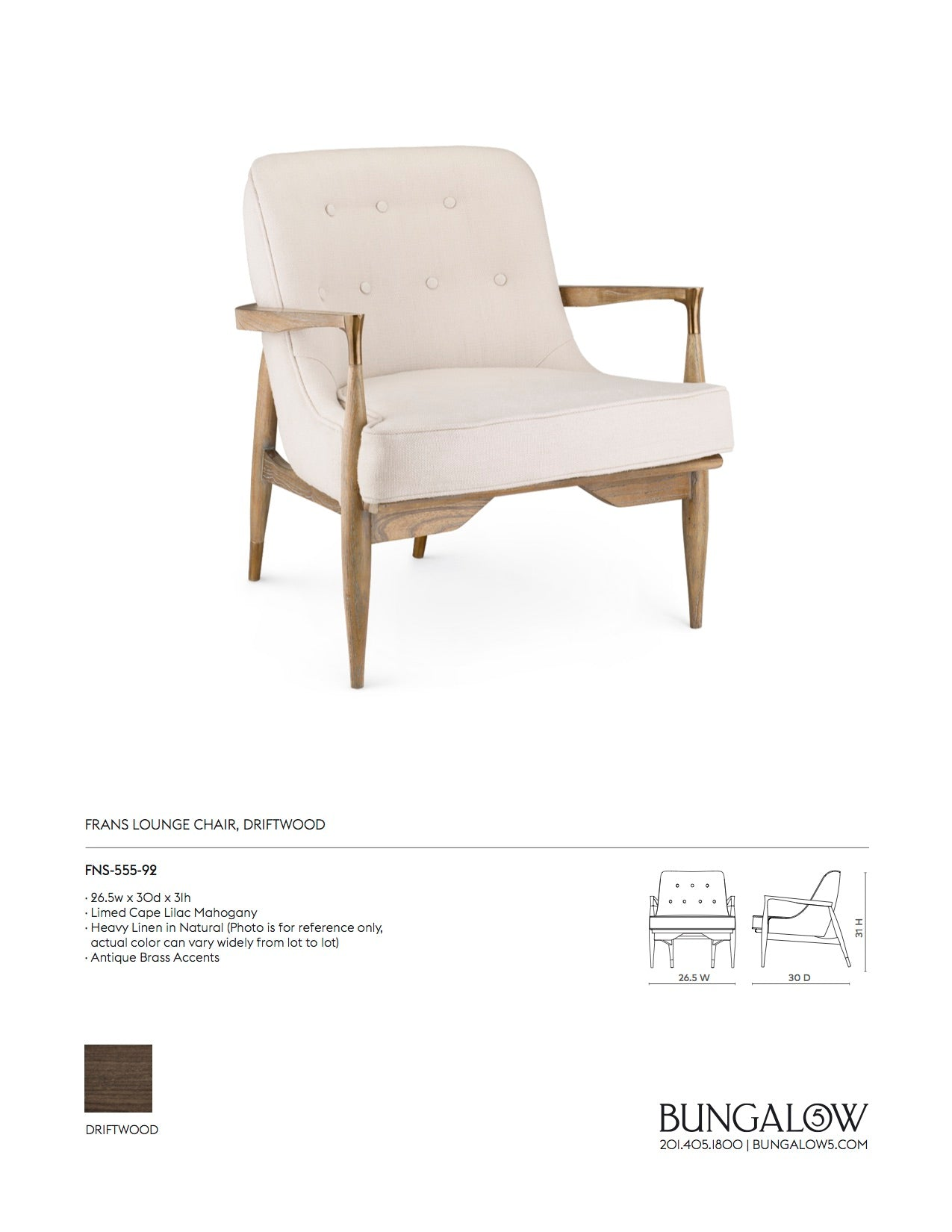 Bungalow 5 Frans Lounge Chair Tearsheet