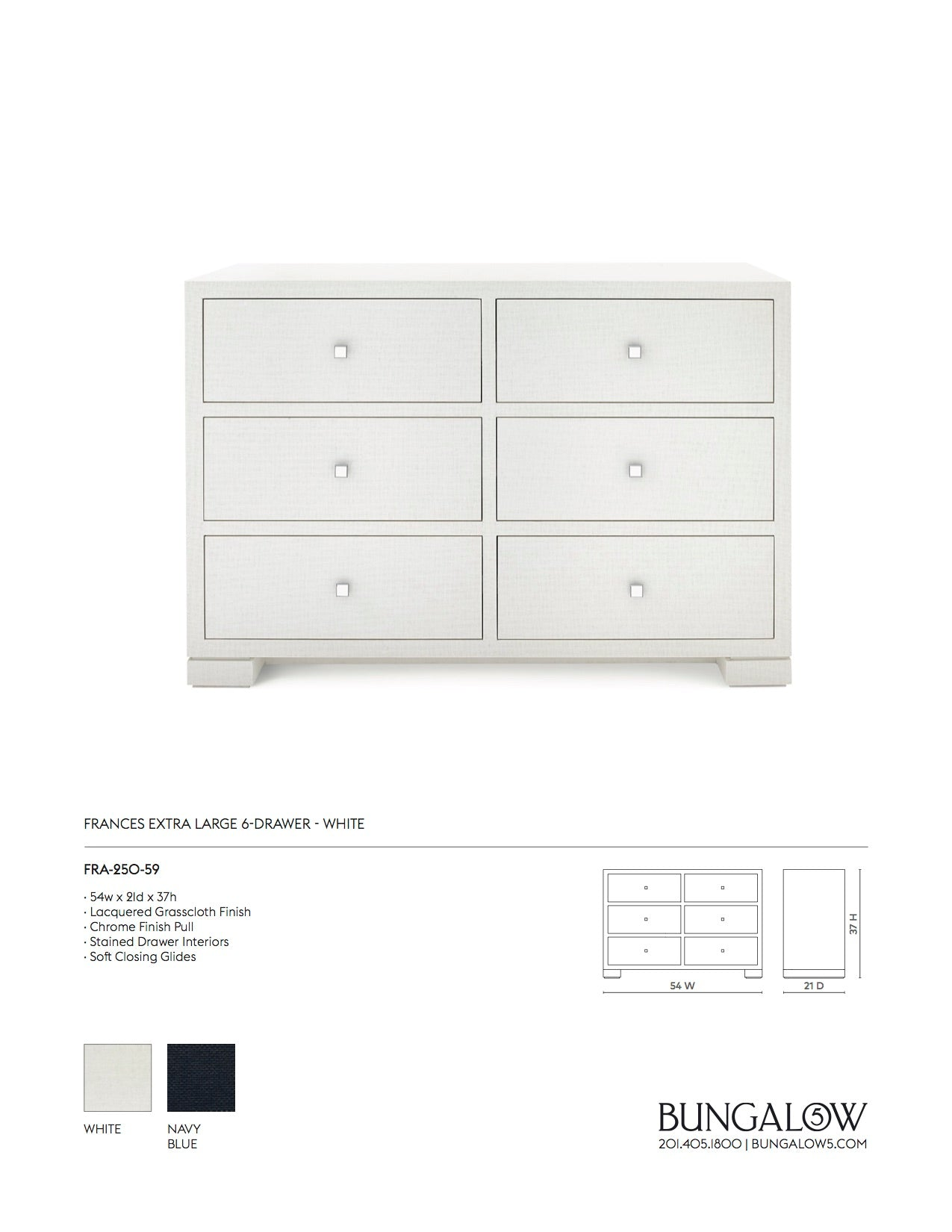 Bungalow 5 Frances Extra Large 6 Drawer Chest White Tearsheet