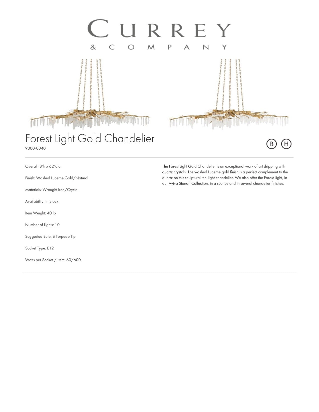 Currey & Company Forest Light Gold Chandelier Tearsheet