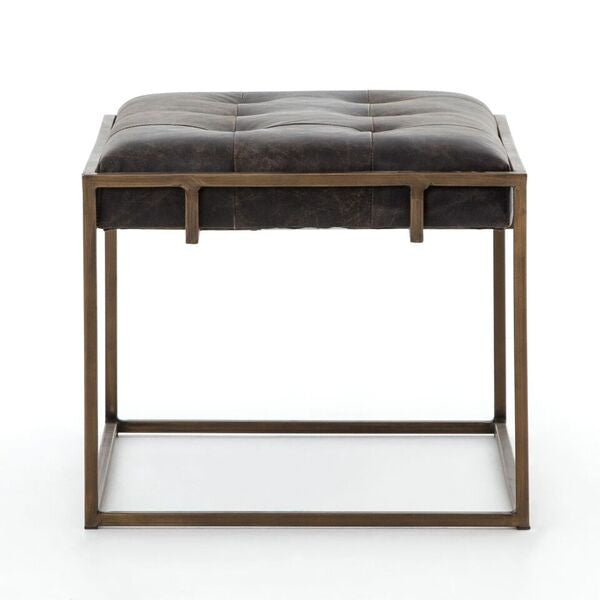 four hands oxford end table ebony faux leather