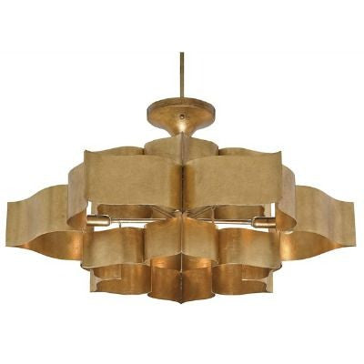 currey and company grand lotus chandelier brass ceiling round