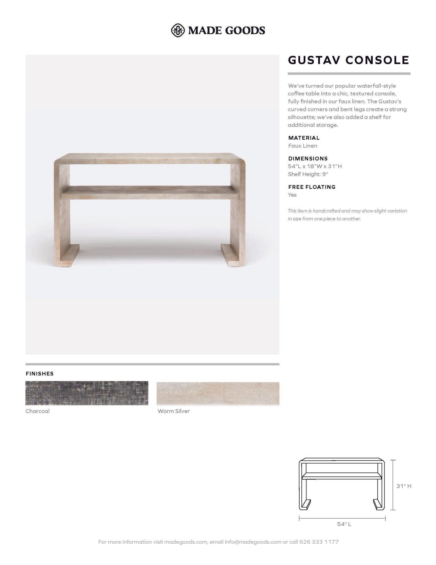 made goods Gustav console tearsheet