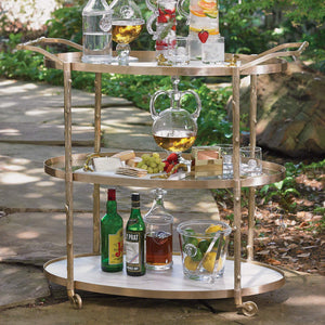 global views arbor bar  cart brass white marble shelves entertain
