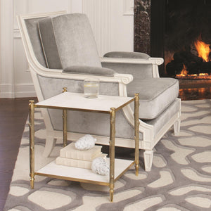 Global Views Arbor Side Table Brass and White Marble