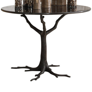global view faux bois black dining table entry organic tree nature wood marble