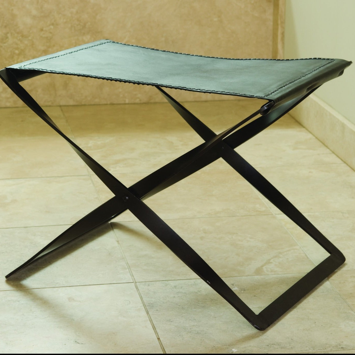 Global Views Folding Stool Iron Brown Leather Hide Modern Rustic Seating  Extra