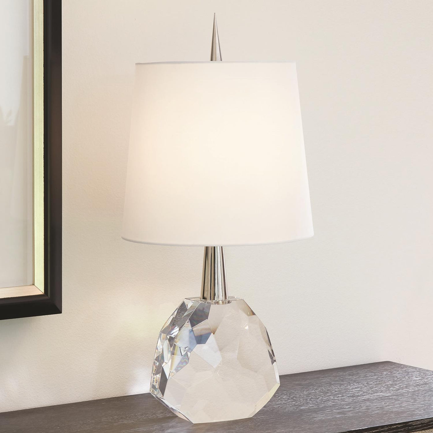 global views gem table lamp nickel clear crystal stone on table