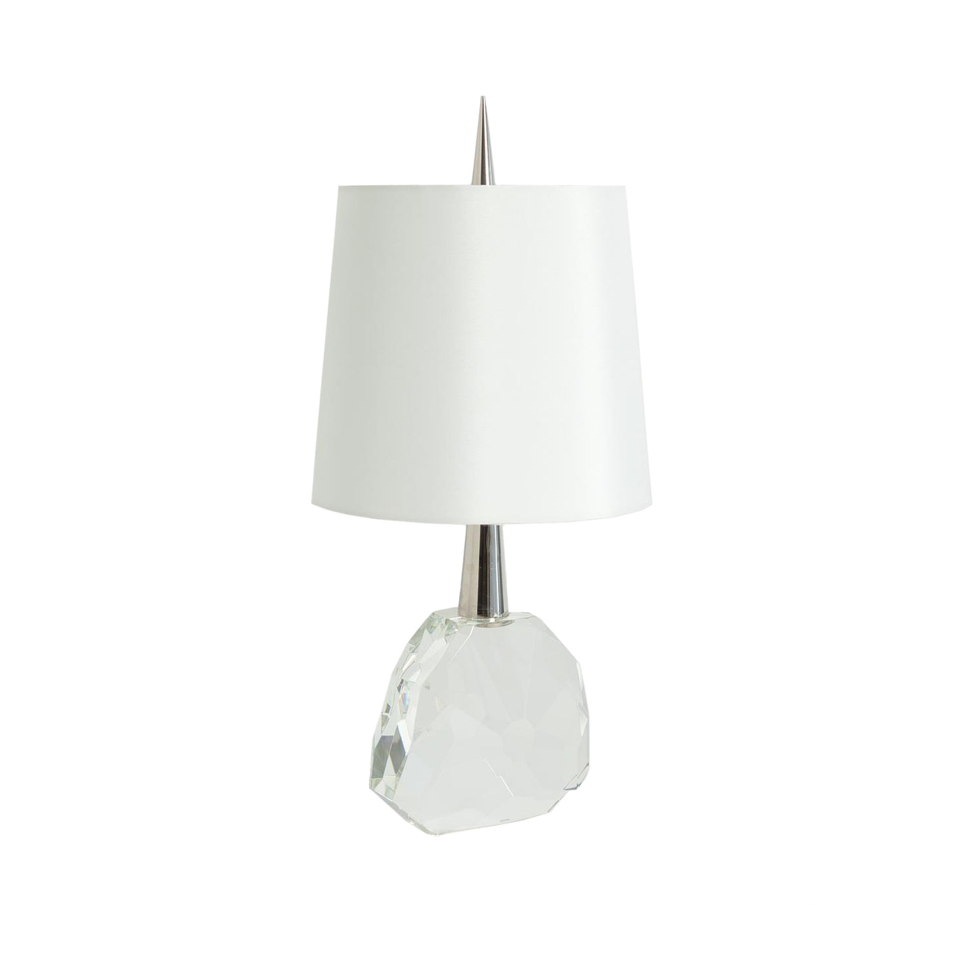 global views gem table lamp nickel clear crystal stone
