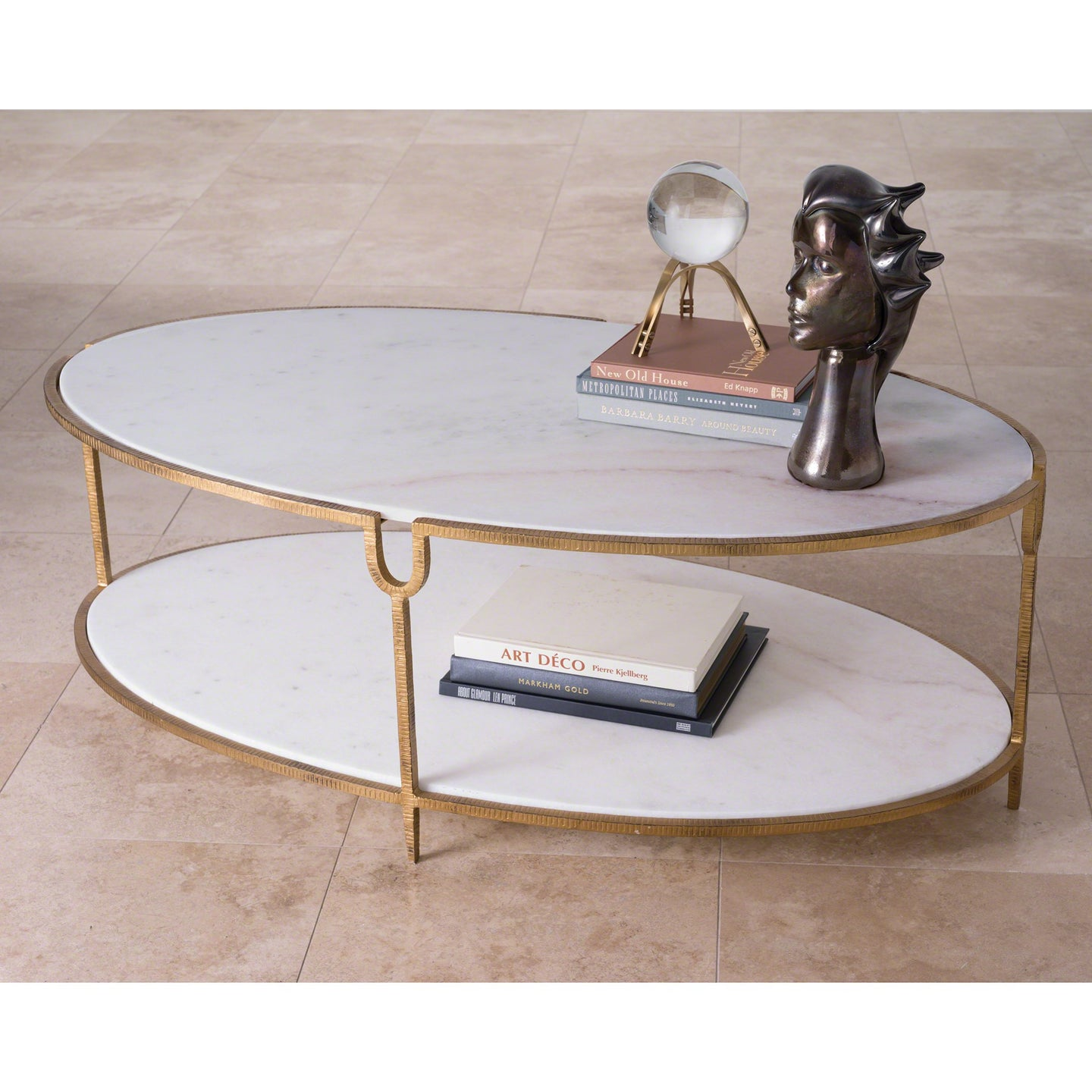 Attirant Global Views Iron Stone Coffee Table Oval Brass Marble Metal Living Room