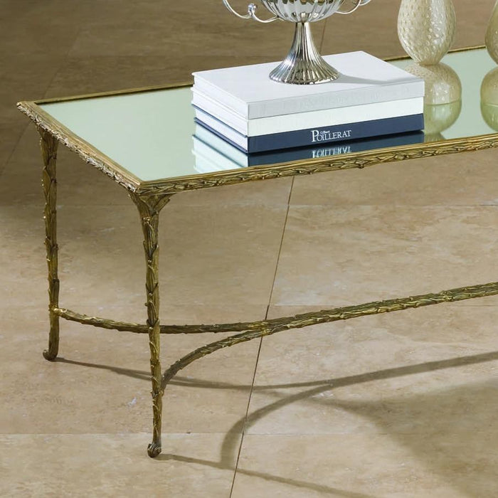 global views organic cocktail coffee table gold leaf mirrored rectangle living room formal
