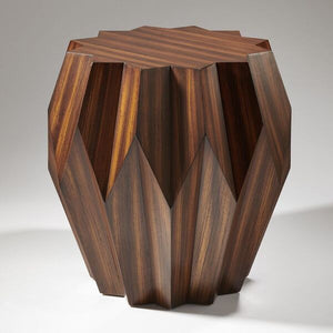 Merveilleux Global Views Origami End Table Zebra Wood Veneer Vaneer Side Table
