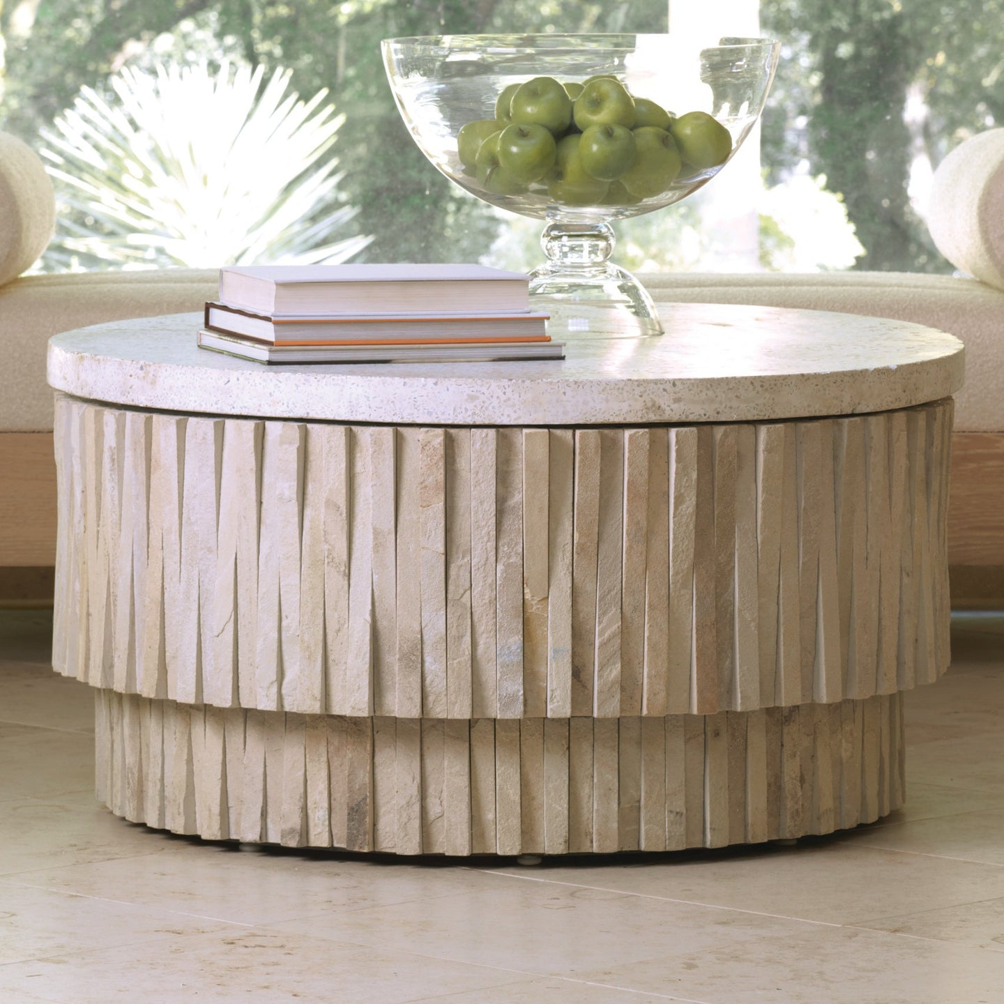 Exceptionnel Global Views Round Teeter Totter Stone Cocktail Coffee Table Natural Marble  Organic Modern
