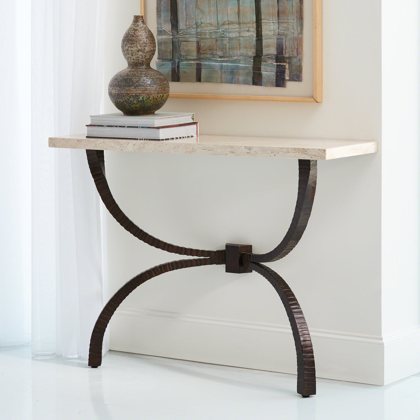 global views teton console bronze metal base cream travertine top table foyer