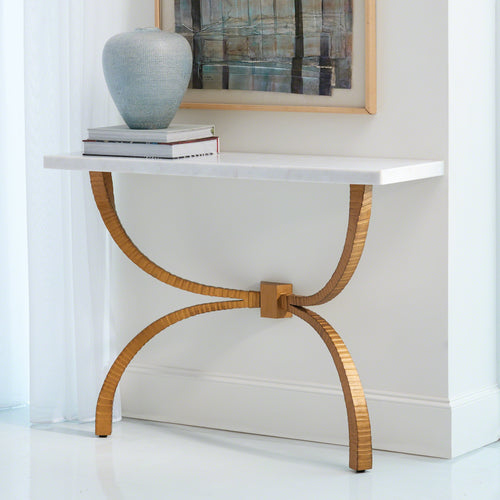 global views teton console gold metal white marble wall table entry way