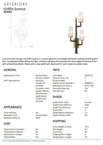 arteriors home griffin sconce tearsheet