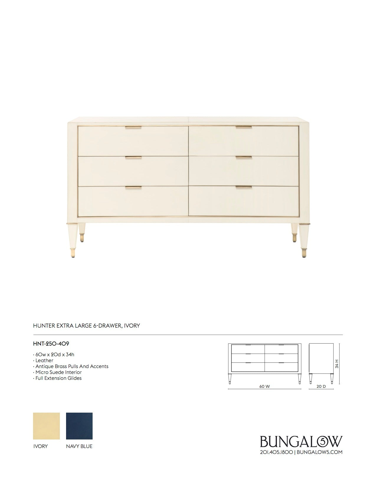 Bungalow 5 Hunter Extra Large 6 Drawer Chest Ivory Tearsheet
