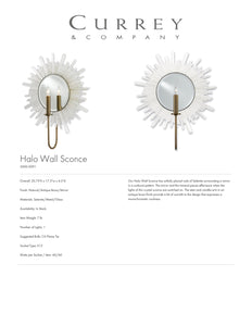 Currey & Company Halo Wall Sconce Tearsheet