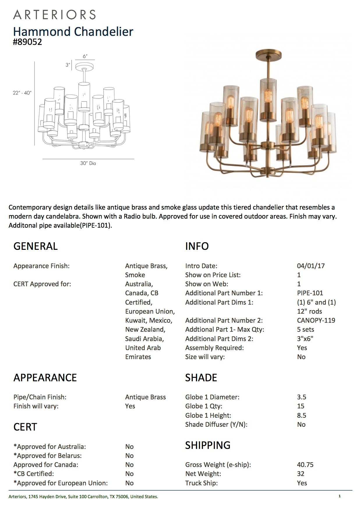 arteriors home hammond chandelier tearsheet