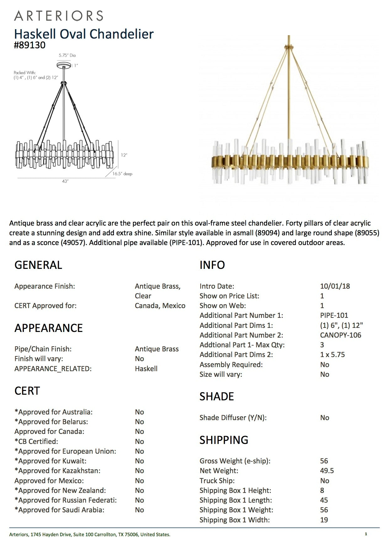 arteriors home haskell oval chandelier tearsheet