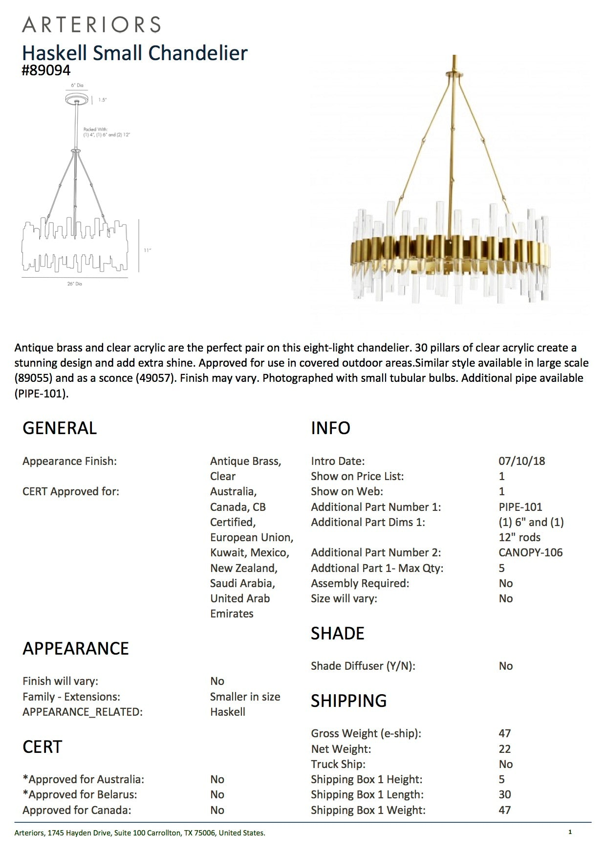arteriors home haskell small chandelier tearsheet