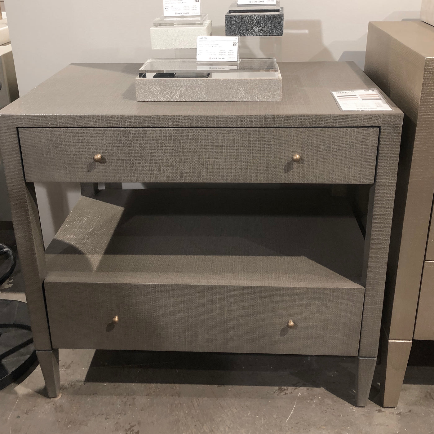 made goods Conrad seal double nightstand drawers showroom