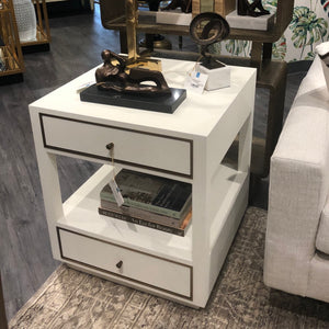 bungalow 5 carmen 2 drawer side table white storage showroom