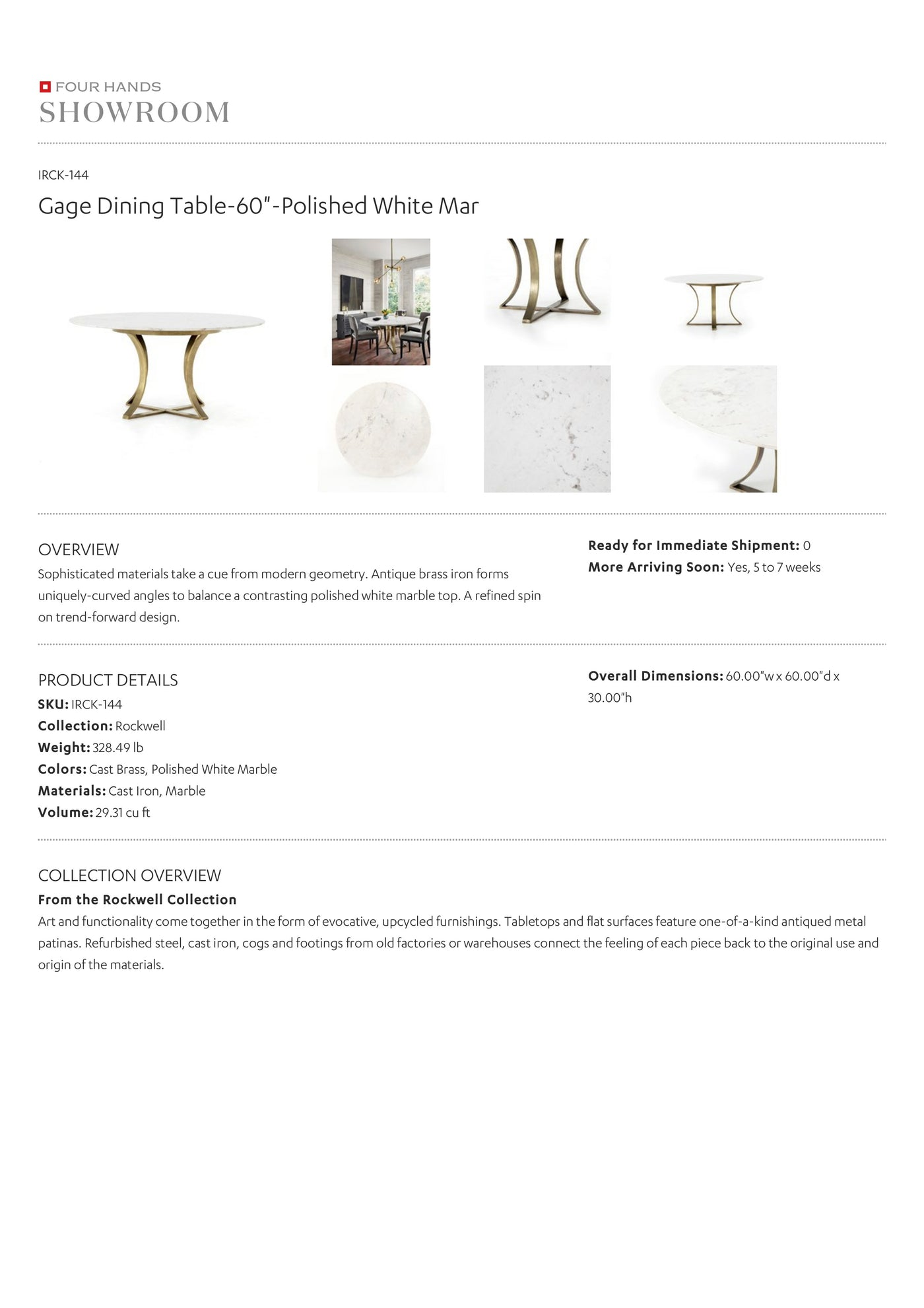 four hands gage dining table tearsheet