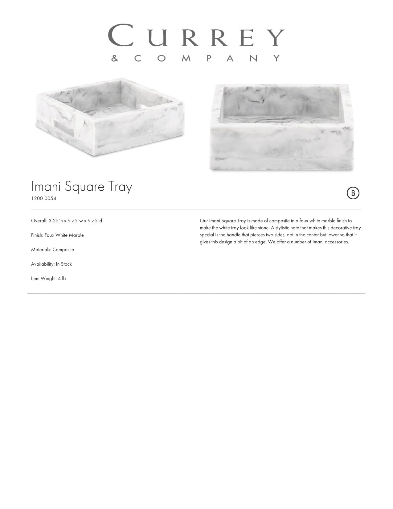Currey & Company Imani Square Tray Tearsheet