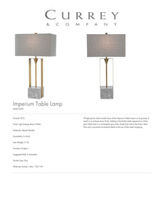 Currey & Company Imperium Table Lamp Tearsheet
