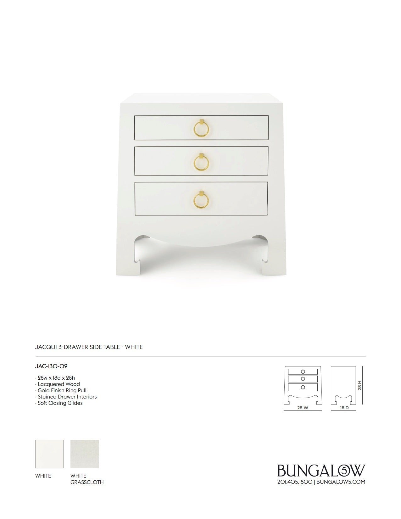 Bungalow 5 Jacqui 3 Drawer Side Table White Tearsheet