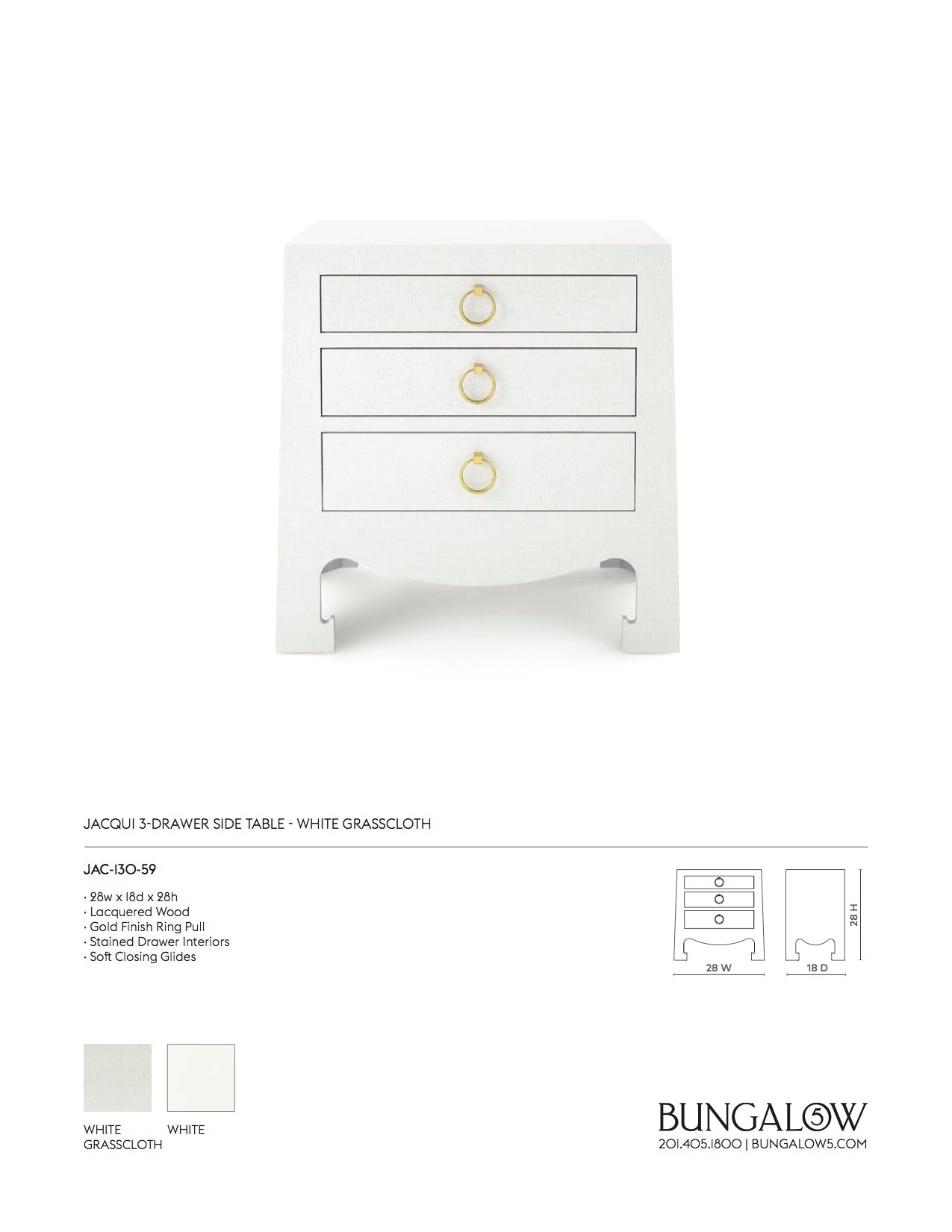 Bungalow 5 Jacqui 3 Drawer Side Table White Grasscloth Tearsheet