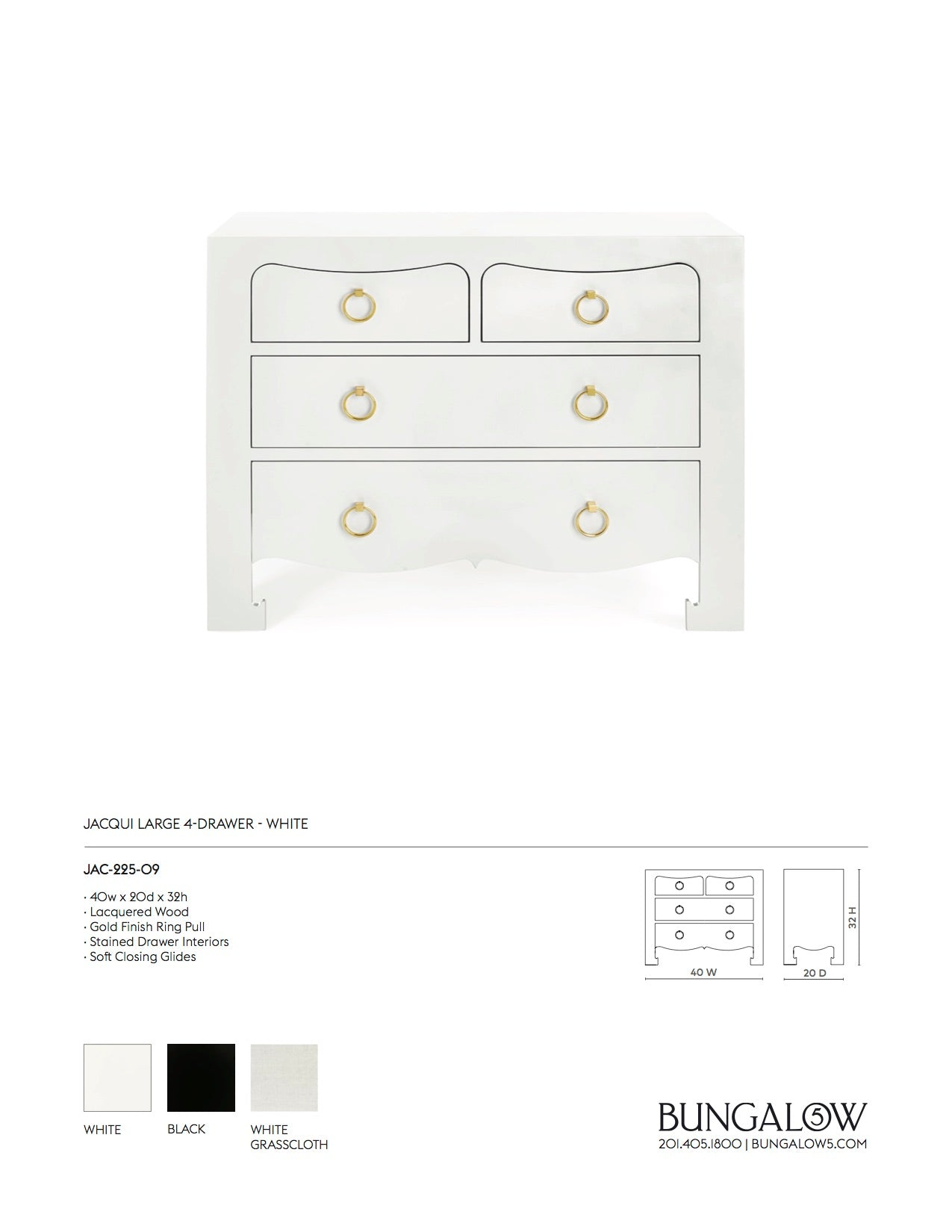 Bungalow 5 Jacqui Large 4 Drawer White Tearsheet