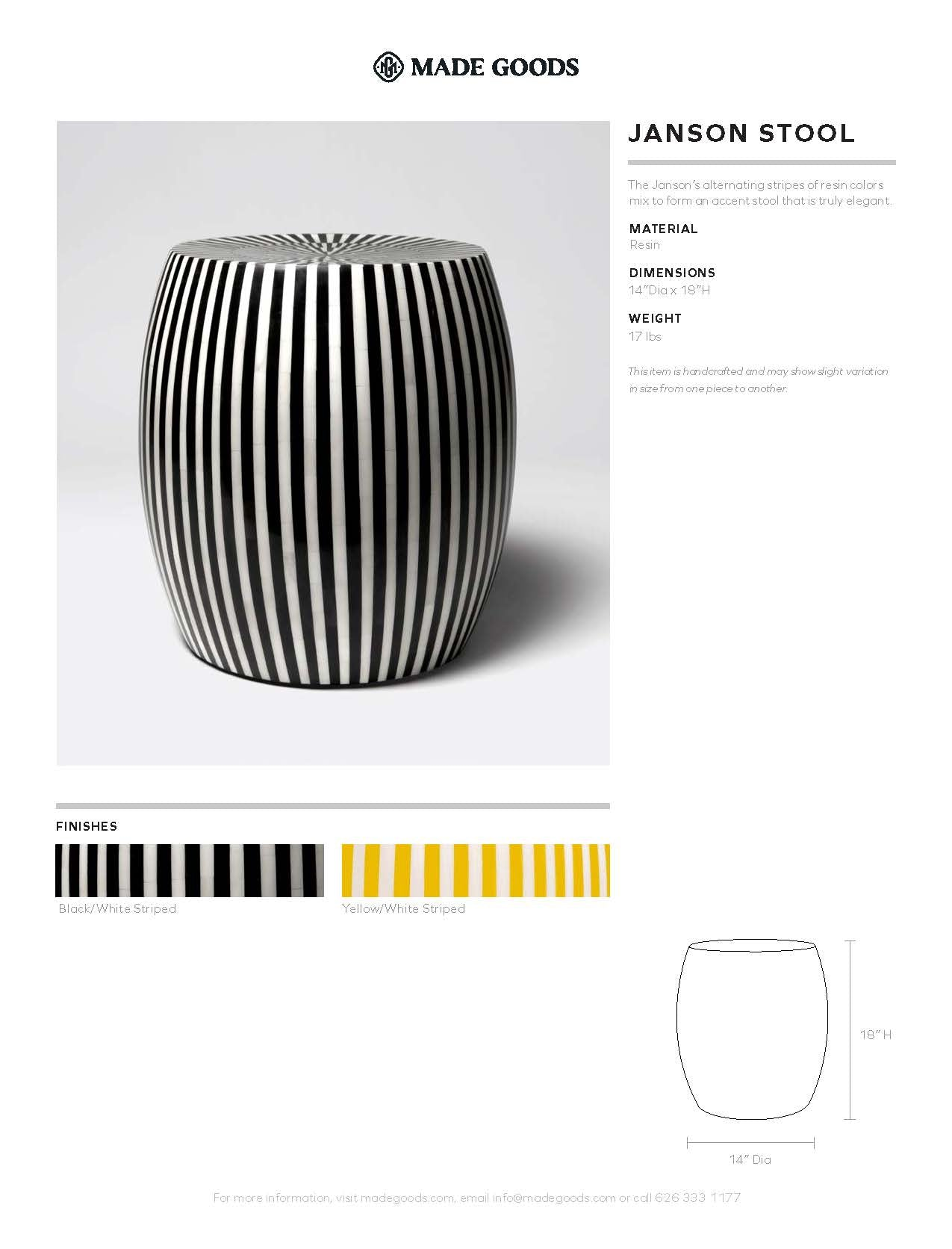 made goods janson striped stool tearsheet