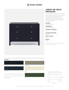 Made Goods Jarin Dresser Linen Gold Hardware Drawer Tear Sheet