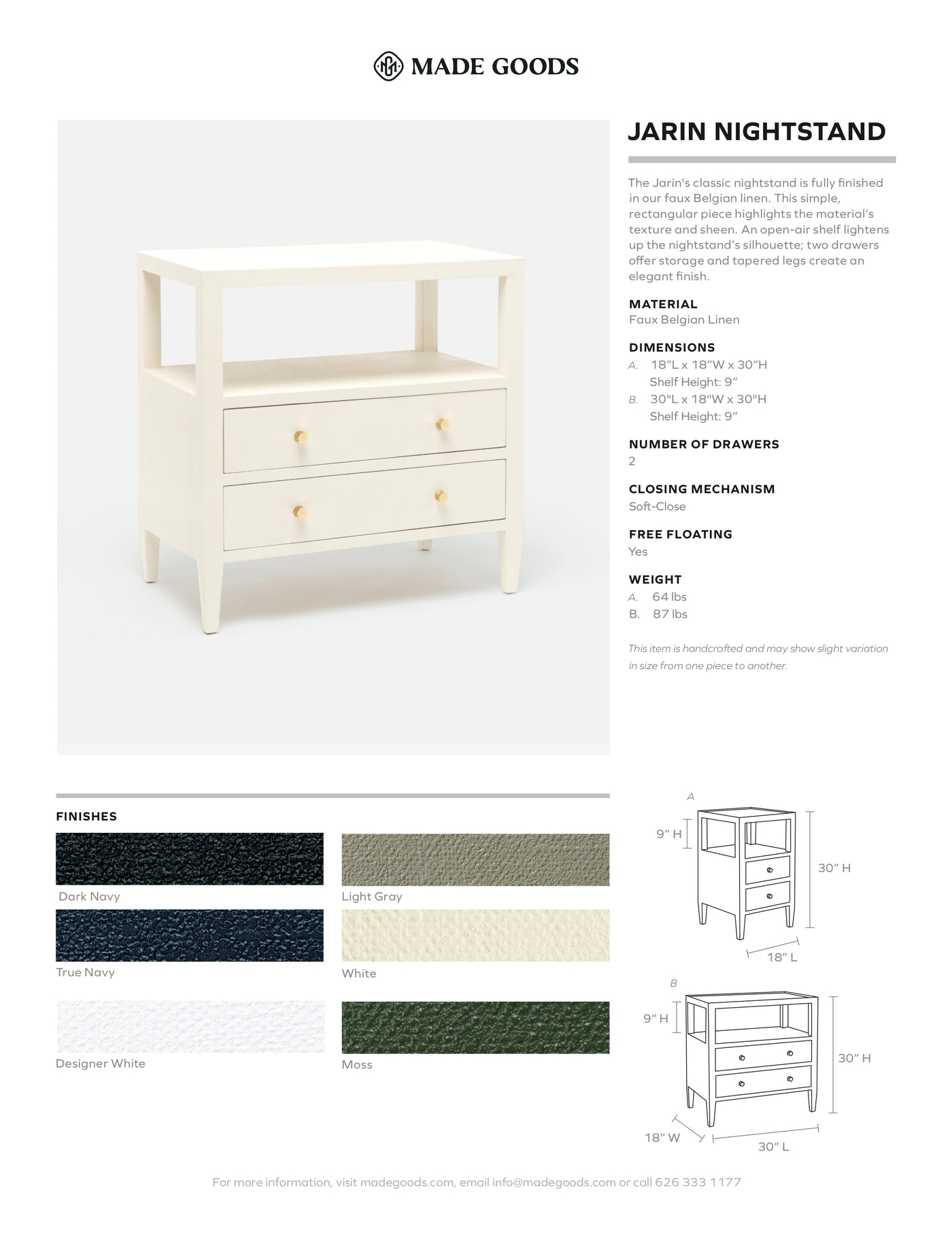 Made Goods Jarin Single Nightstand Tearsheet