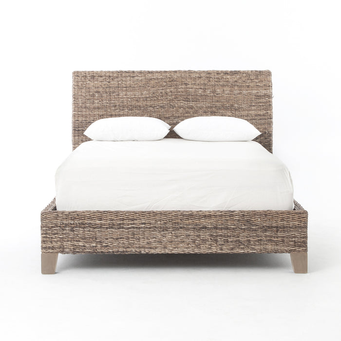 four hands banana leaf bed grey wash acaba wood