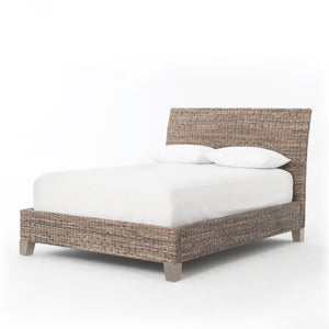 four hands banana leaf bed headboard footboard mango wood
