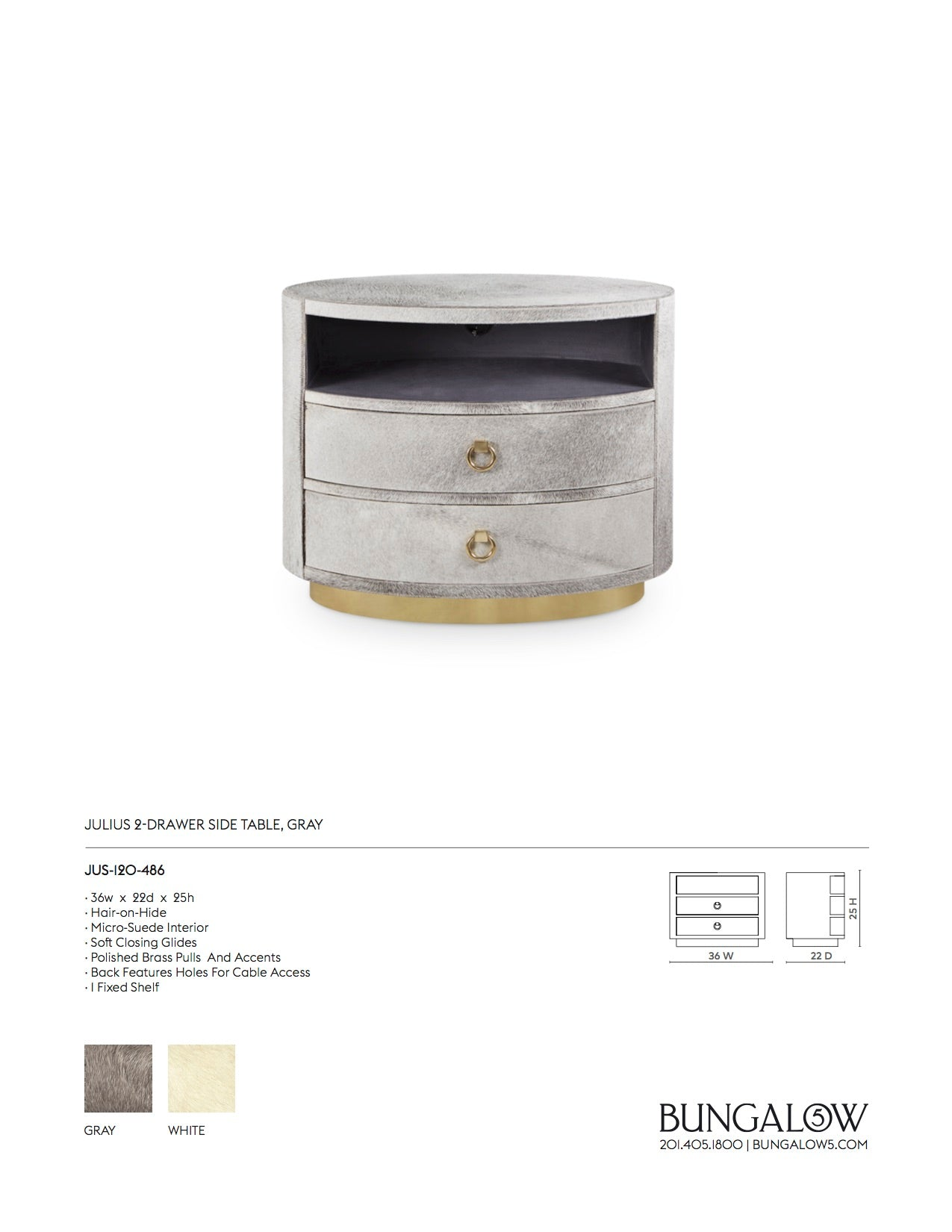 Julius 2 Drawer Side Table Gray