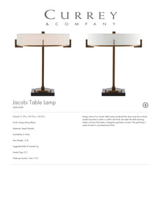 Currey & Company Jacobi Table Lamp Tearsheet