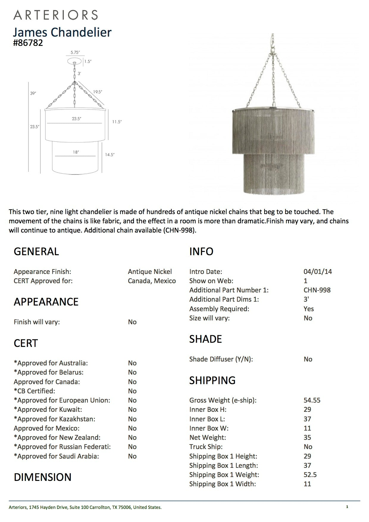 arteriors home james chandelier tearsheet