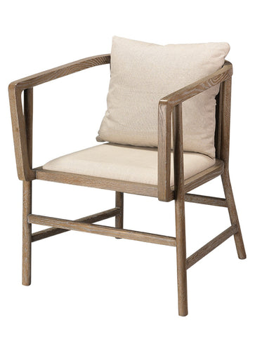 Jamie Young Grayson Arm Chair Grey Wood Off White Linen